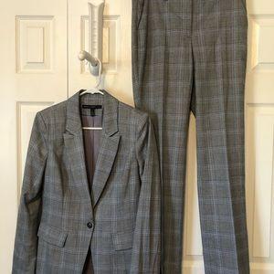 Pant suit gray/ blue plaid
